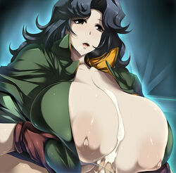 areolae blue_hair blush breast_squeeze breasts brown_eyess bursting_breasts cum ejaculation erect_nipples gigantic_breasts gloves huge_breasts large_areolae long_hair majestic_prince nipples open_mouth paizuri penis saionji_reika_(majestic_prince) tsukazawa