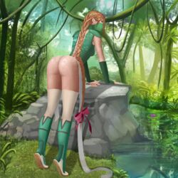 ass big_ass blackknight23 braids cloth forest green_hair jenxsie jungle leggings long_hair ninja orange_hair reflection ribbon thighhighs vines water