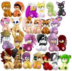 amy_rose blaze_the_cat breasts bunnie_rabbot conquering_storm cosmo_the_seedrian cream_the_rabbit female fiona_fox hair julie-su lien-da long_hair lupe marine_the_raccoon mina_mongoose nicole_the_lynx nipples rouge_the_bat sally_acorn sega shade_the_echidna sonia_the_hedgehog sonic_(series) tails tikal_the_echidna vanilla_the_rabbit wave_the_swallow
