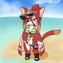 artist_request brown_eyes cat_busters eye_patch feline furry long_hair open_mouth red_hair