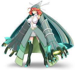 1girl big_breasts breasts celesteela cosplay female_only high_heels human nintendo orange_eyes orange_hair pokemon pokemon_sm standing takecha thighhigh_boots white_background