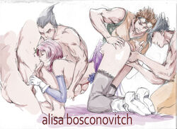 female 5boys alisa_bosconovitch anal_fingering android blowjob doggy_style double_handjob double_penetration fellatio finger_fuck fingering gangbang gloves handjob hwoarang jin_kazama kazama_jin kazuya_mishima kreukz namco on_knees orgy rape tekken white_gloves