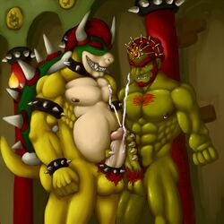 belly bowser chiltikcoatl cock_ring cum duo erection frottage ganondorf gerudo hair handjob horn koopa male male/male mario_bros muscular nintendo nipples penis pubes red_hair scalie sex shell spikes teeth video_games