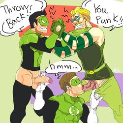 3boys dc gay green_arrow green_lantern green_lantern_corps hal_jordan handjob justice_league kyle_rayner male oliver_queen oral penis threesome yaoi