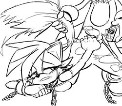 female fiona_fox fox fur furry male monochrome ravnic sonic_(series) tails