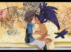 breasts clothing color dark_skin exposed_breasts female hand_on_breast hikariangelove human interracial iris_(pokemon) kissing light_skin male nate pokemon side_view skin straight topless