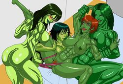 4girls :d ass crossover dc earth_16 female female_only gamora green_eyes green_lantern green_lantern_corps green_skin hulk_(series) imminent_sex jade large_ass marvel miss_martian multiple_girls muscle_tone muscular_female red_eyes restrained she-hulk smile solo toned young_justice yuri