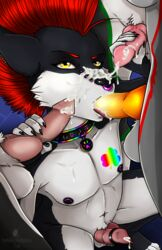 2017 animal_genitalia animal_penis anthro balls canine canine_penis cock_ring collar cum cum_on_face demon dickgirl erection fellatio fox furry gumroad keisha_makainn knot lupo male mammal merajito_(character) messy mohawk multiple_versions neith_(character) oral party penis piercing saliva seamus_(character) sex tattoo tongue wolf yaoi