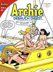 2girls archie_andrews archie_comics betty_and_veronica betty_cooper black_hair blonde_hair boat cactus34 jughead_jones nude puberty pubic_hair sailing smile veronica_lodge