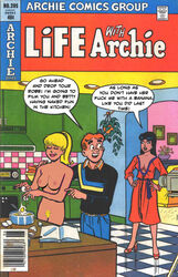 2girls archie_andrews archie_comics betty_and_veronica betty_cooper black_hair blonde_hair dress female high_heels human kitchen male nude veronica_lodge