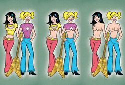 2girls archie_comics betty_and_veronica betty_cooper black_hair blonde_hair female female_only human multiple_females smile tagme topless veronica_lodge