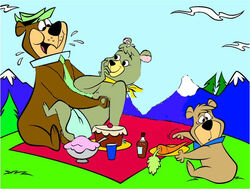 bear boo_boo child cindy_bear color female food fur furry male multiple_males outdoors picnic yogi_bear