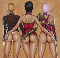 3girls ada_wong armor art_of_fighting ass back belt big_ass big_butt black_belt black_hair black_thong blonde_hair brown_background brown_shirt crossover dat_ass detached_sleeves earrings edithemad fingerless_glove glove huge_ass huge_butt isabella_valentine king king_of_fighters legs long_sleeves purple_thong red_dress resident_evil short_hair shoulder_armor silver_hair simple_background sleeveless soul_calibur thighs thong white_gloves white_thong