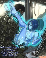 armor blue_hair blue_skin bullet cortana cum cum_inside ganassa gun halo_(series) legs_up master_chief microsoft penis see-through sex