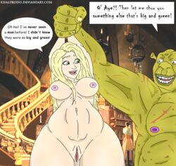 big_breast blonde_hair crossover khalfrodo rapunzel shrek tangled