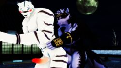 3d_(artwork) abs anal anal_sex anthro balls biceps big_muscles blue_eyes blush canine crossover digital_media_(artwork) duo feline fur grimoire_of_zero headband horkeukamui humanoid_penis kemono male malicekira mammal mercenary_(character) multicolored_fur muscular muscular_male night nipples nude open_mouth outside pecs penetration penis sex smile stripes tiger tokyo_afterschool_summoners white_fur white_tiger wolf