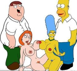 color crossover family_guy female homer_simpson human lois_griffin male marge_simpson peter_griffin straight the_simpsons