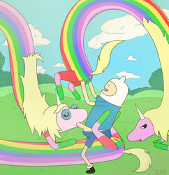 adventure_time bpq00x equine ethel_rainicorn finn_the_human lady_rainicorn