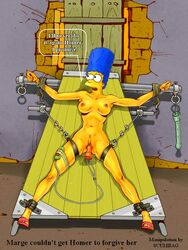 blue_hair bound breasts color curly_hair dildo exposed_breasts eyes female female_only front_view hair human indoors marge_simpson mouth open_eyes open_mouth scumbag sex_toy skin solo the_simpsons vibrator vulva yellow_skin