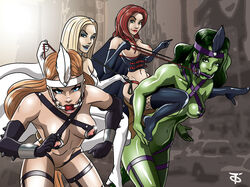 emma_frost jean_grey marvel offworldtrooper ponygirl ponyplay powerful_women she-hulk titania x-men