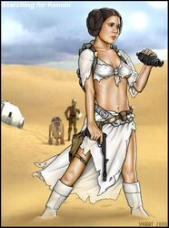 breasts cleavage erect_nipples female navel princess_leia_organa shabby_blue star_wars tatooine torn_clothes