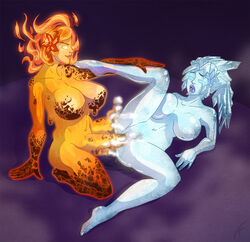 ariza big_breast big_penis blue_hair blue_skin fire fucked_silly futa_on_female futanari ice iris orange_hair orange_skin pussy_juice steam vaginal_penetration water