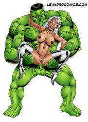 dark_skin dark_skinned_female hulk hulk_(series) interracial leandro_comics marvel storm x-men