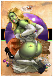 ass blonde_hair boots corset cosplay dat_ass emma_frost gloves halloween j-estacdo jestacado marvel she-hulk tattoo