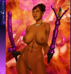 abs ass bloodfart brown_hair cunnilingus dark-skinned_female dark_skin dildo double_dildo earrings female gloves huge_dildo jewelry midriff necklace nude penetrator pussy saints_row saints_row_iv sex_toy tattoo yuri