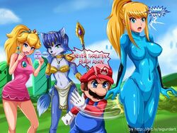 3girls blonde_hair blue_eyes blue_hair krystal mario princess_peach samus_aran sigurdhosenfeld slapping spanking zero_suit
