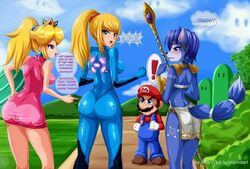3girls blonde_hair blue_eyes blue_hair krystal mario princess_peach samus_aran sigurdhosenfeld talking text thinking