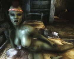 1girl 3d abs bedroom_eyes braids breasts brown_hair female female_only green_skin headband humanoid large_breasts mohawk muscles muscular_female on_bed orc orc_female pointy_ears skyrim solo the_elder_scrolls thick_lips tusks