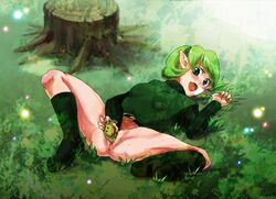 blue_eyes blush green_hair ocarina ocarina_of_time pussy saria tagme tomatama