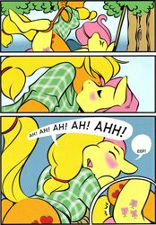 333456 anthro anthrofied applejack_(mlp) blonde_hair blush bondage closed_eyes clothing dildo double_dildo double_penetration english_text equine female female_orgasm fluttershy_(mlp) friendship_is_magic hair horse kissing looking_down mammal my_little_pony orange_body orgasm penetration pony sausage sex_toy text vaginal_penetration vaginal_penetration yuri
