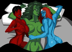 3girls ass avengers bed black_hair blue_skin breasts crossover dc eyes_closed female green_hair green_lantern_(series) green_lantern_corps green_skin hulk_(series) jennifer_walters large_breasts long_hair lying marvel morganagod mystique naked navel nude red_hair red_skin sex she-hulk short_hair smile soranik_natu threesome x-men yellow_eyes yuri