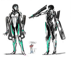 1girl ass breasts crossover female jack_darby june_darby male mass_effect optimus_prime robot robot_girl simple_background text transformers transformers_prime white_background