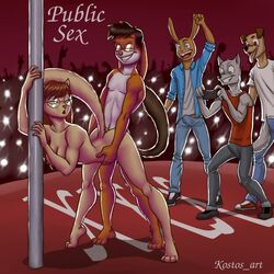 alvin_and_the_chipmunks anthro breasts camera canine chipettes erection eyewear feline feline female fluffy_tail glasses hybrid jeanette_miller josh kostos_art lagomorph male nude penetration penis pole public rabbit raised_tail sex straight vaginal_penetration vaginal_penetration