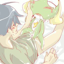 alien amphibian bed black_hair blonde_hair blush bottomless closed_eyes cowgirl_position cum drooling duo female frog fuyuki fuyuki_hinata green_body hair human keroro keroro_gunsou male open_mouth saliva size_difference skin straight tears unknown_artist