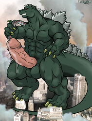 2007 abs anthro balls biceps big_muscles big_penis building city claws cum erection godzilla hyper kaiju macro male muscles nude pecs penis rackun reptile scalie solo