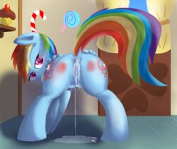 2013 after_sex anus ass blue_fur cum cum_in_ass cum_inside cutie_mark dripping equine female friendship_is_magic hair horse inside kitsuneymg lactating looking_back multi-colored_hair my_little_pony pegasus pony puddle purple_eyes pussy pussy_juice rainbow_dash_(mlp) rainbow_hair red_butt solo spanking teats thick_butt wings