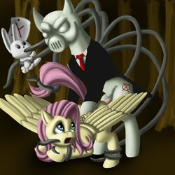 angel_(mlp) bondage clothing cr33per creepy cutie_mark domination equine female fluttershy_(mlp) forest friendship_is_magic fur hair horse lagomorph long_hair looking_back male monster my_little_pony necktie nightmare_fuel note open_mouth oral_penetration pegasus penis pink_hair ponified pony rabbit raised_tail rape scared slenderman slendermane straight suit tentacle tentacle_rape tree wings yellow_fur