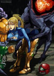 alien armor ass beauty_mark bent_over big_breasts blonde_hair blue_eyes breasts cleavage clothing cum cum_in_mouth cum_on_face erect_nipples erection female group hair human ing long_hair male metroid nintendo nipples open_mouth orgasm penetration penis polyle samus_aran sex tagme threesome torn_clothing varia_suit video_games zero_suit