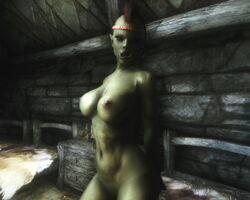 1girl 3d abs bedroom_eyes braids breasts brown_hair female female_only green_skin headband humanoid kneeling large_breasts long_hair mohawk muscles muscular_female on_bed orc orc_female pointy_ears skyrim solo the_elder_scrolls thick_lips tusks