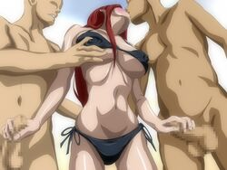 bare_shoulders bikini bikini_top blush breast_grab breasts cahlacahla censored double_handjob erect_nipples erza_scarlet fairy_tail female handjob highres hips kissing large_breasts legs long_hair navel nude penis red_hair standing swimsuit thighs thong threesome