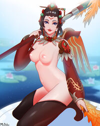 alternate_costume areolae breasts female female_only looking_at_viewer mcdobo mercy nipples overwatch solo thighhighs zhuque_mercy