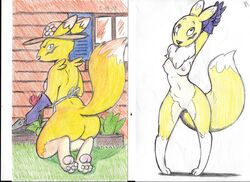 2018 apron ass breasts building canine chest_tuft clothing digimon female flower fur gardening gloves grass hat house kneeling landscaping looking_back mammal nipples outside pawpads plant postdisease presenting presenting_hindquarters pussy raised_tail renamon side_boob simple_background stretching traditional_media_(artwork) trowel tuft white_background window yellow_fur