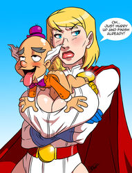 aeolus06 annoyed blonde_hair blue_eyes cape cleavage cleavage_cutout crossed_arms dc_comics english large_breasts lips mxyzptlk paizuri power_girl size_difference superhero