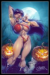 black_hair breasts brown_eyes cleavage smile vampirella wagner