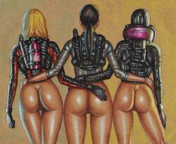 3girls anus ass blonde_hair bottomless brown_hair capcom cloves dat_ass edithemad female female_only hand_on_ass jacket jessica_sherawat jill_valentine long_hair pussy rachael_foley resident_evil resident_evil_revelations