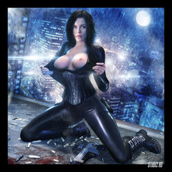 artdude41 blue_eyes breasts dark_hair female flashing gun kate_beckinsale selene solo underworld vampire weapon